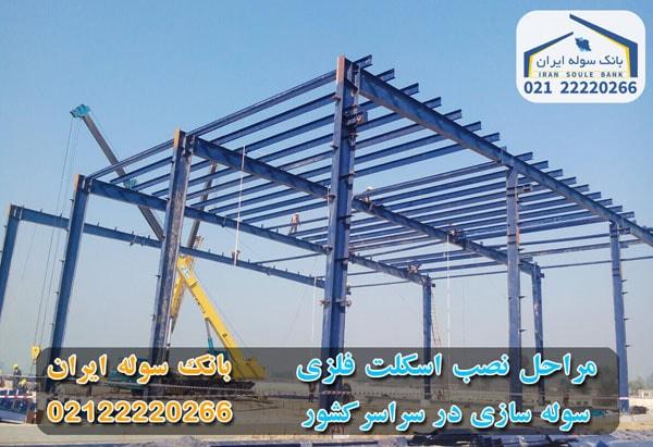 مراح نصب اسکلت فلزی ساختمان - بانک سوله ایران